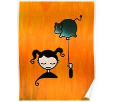 Hippopotamus Dream - Girl with Balloon Poster
