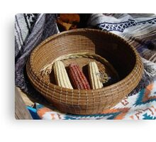 Pine Needle Basket and Indian Corn Canvas Print