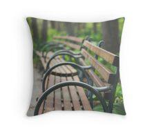 Garden Benches Throw Pillow