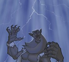Badass Werewolf Roaring In Lightning by hamstertoybox