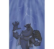Badass Werewolf Roaring In Lightning Photographic Print
