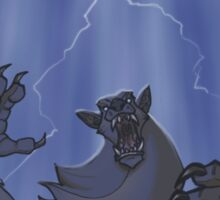 Badass Werewolf Roaring In Lightning Sticker