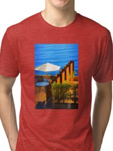 Sea Balcony View at sunset in Côte d'Azur, FRANCE Tri-blend T-Shirt
