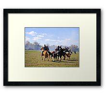 Fighting it Out On Horseback Framed Print
