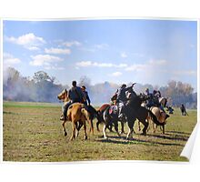 Fighting it Out On Horseback Poster