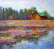 Pond in the spring by Julia Lesnichy