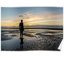 Sunset light, Crosby beach Poster