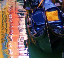 Gondolas sleeping on a Venice canal Sticker