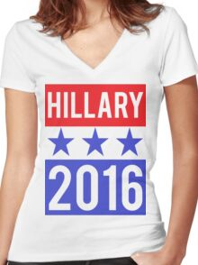 Hillary Clinton 2016 Democrat Election President Women's Fitted V-Neck T-Shirt