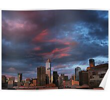 Sunset over the city. Poster