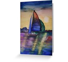 sailing on the sunset Greeting Card