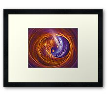 Abstract fantasy tunnel with yellow and purple lines Framed Print