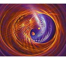 Abstract fantasy tunnel with yellow and purple lines Photographic Print