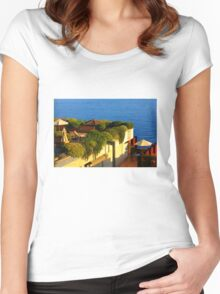 Sea view Balcony on the French Riviera at Sunset Women's Fitted Scoop T-Shirt