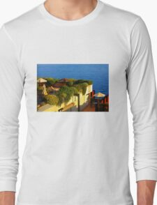 Sea view Balcony on the French Riviera at Sunset Long Sleeve T-Shirt