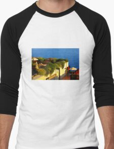 Sea view Balcony on the French Riviera at Sunset Men's Baseball ¾ T-Shirt