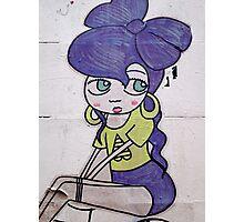 brick lane graffiti purple girl Photographic Print