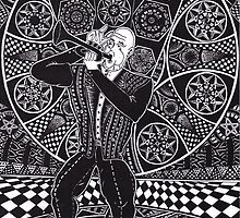 Jazz Musician 1990 - Triptych Part 1, Ink Drawing by RIYAZ POCKETWALA
