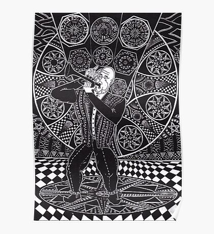 Jazz Musician 1990 - Triptych Part 1, Ink Drawing Poster