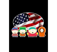 South park- US flag ( black ) Photographic Print