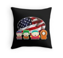 South park- US flag ( black ) Throw Pillow