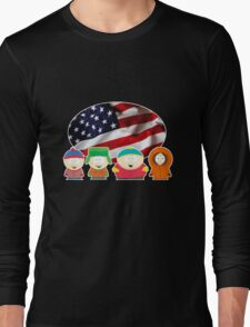 South park- US flag ( black ) Long Sleeve T-Shirt