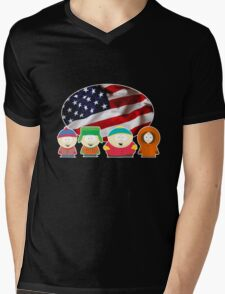South park- US flag ( black ) Mens V-Neck T-Shirt