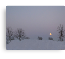 Moon Shining Over The Snow Canvas Print