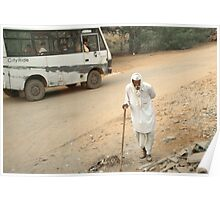 Old man and small bus, India Poster