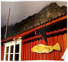 Rorbu, Norwegian fishing hut, Ä, Lofoten Poster
