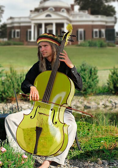 Mellow Fellow at Monticello Playing a Cello of Yellow Jellow by blindmel