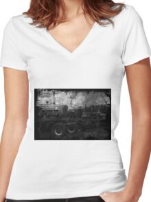 Tractors at the Fair Women's Fitted V-Neck T-Shirt