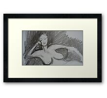 Nude - charcoal on linen paper Framed Print