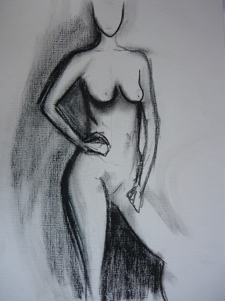 Nude - charcoal on linen paper 2 by ChristineBetts