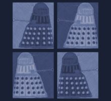 Daleks in negatives - blue One Piece - Short Sleeve