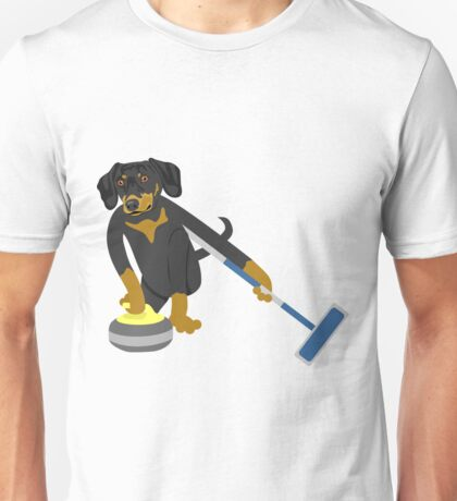 Dachshund Curling Unisex T-Shirt
