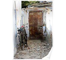 Laneway with Bicycles & Steel Door, Gujurat, India Poster