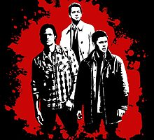 Castiel, Dean, and Sam on Red Supernatural by stormthief19