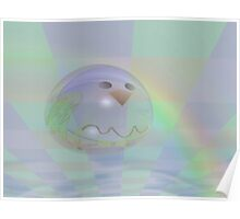 Spring rainbow drop with a birdie Poster