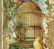 Large Gilded Gold Victorian Bird Cage by designsbycclair