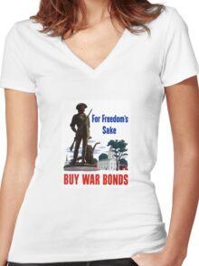 For Freedom's Sake - Buy War Bonds Women's Fitted V-Neck T-Shirt