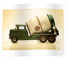 Green antique toy cement truck Poster
