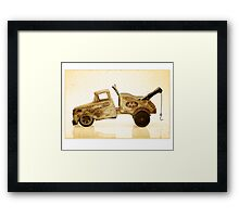 White antique toy tow truck Framed Print