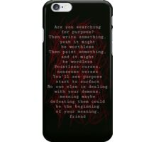 Twenty One Pilots Kitchen Sink Lyrics iPhone Case/Skin
