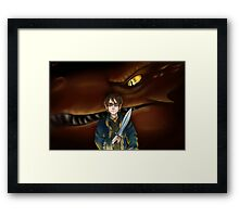 Bilbo Baggins and Smaug Framed Print