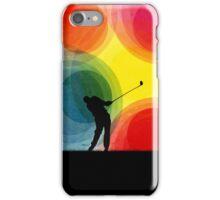 Colorful Retro Silhouette Golfer iPhone Case/Skin