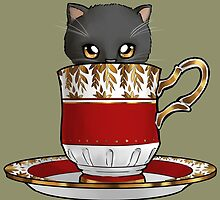 Kitten in a Tea Cup, Black Kitten, Yellow Eyes, Red Cup by ninniku