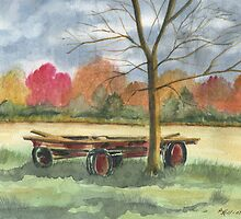 Neighbor Don's Old Wagon by Marsha Elliott
