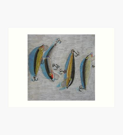 """Four fishing lures"" Art Print"