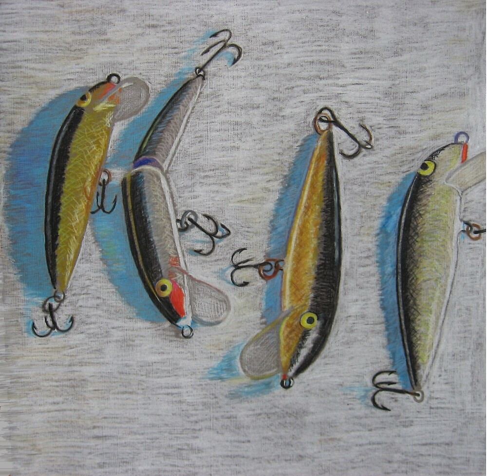 """Four fishing lures"" by Richard Robinson"